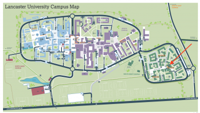 A map of Lancaster University campus layout